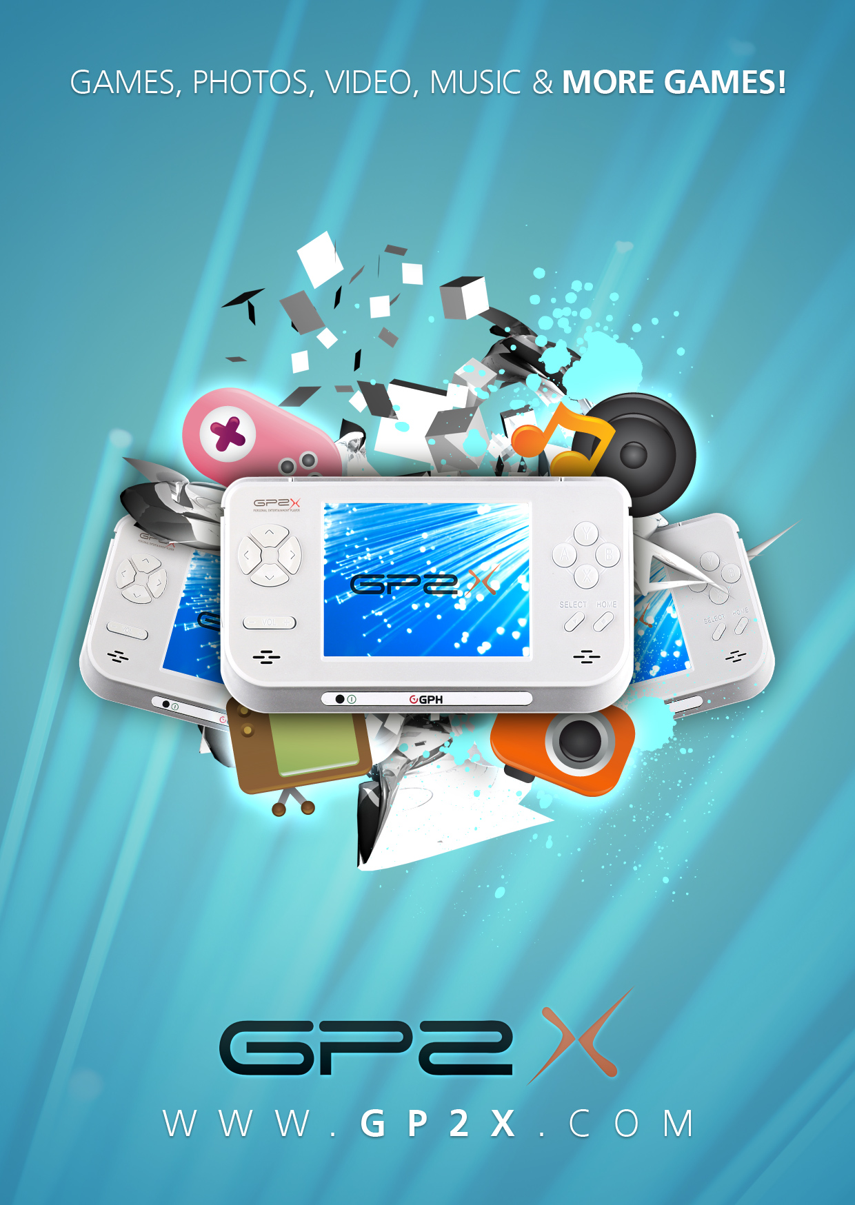 Designing a portable gaming device poster photoshop lady gp2x console advertisement design baditri Images