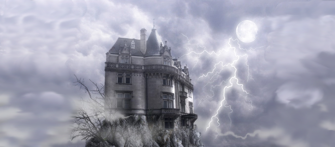 A Castle under a Mysterious Lightning Scene