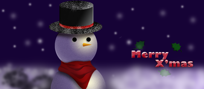 Create a Christmas Card – Awesome Snowman in Night Scene