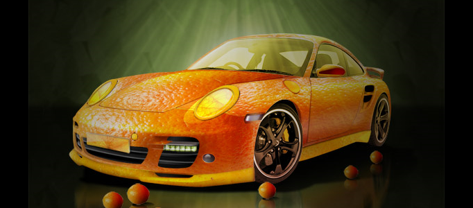 Orange Porsche with Fruit Skin
