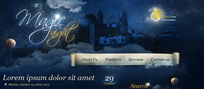 Create a Fantastic Magic Night Web Design Theme in Photoshop