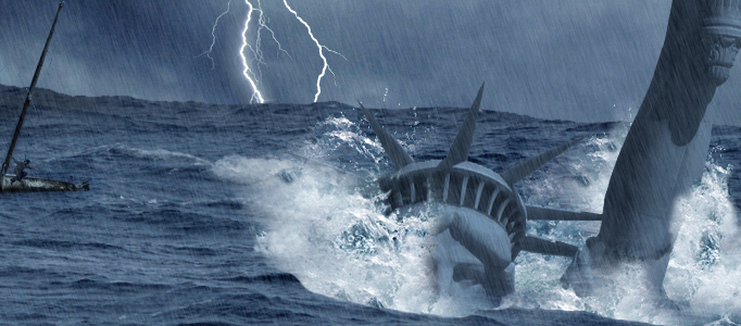 Create a Massive Tsunami Impacting the Statue of Liberty Scene
