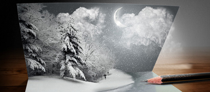 Awesome Christmas Card Creation – Snow Scene in Photoshop