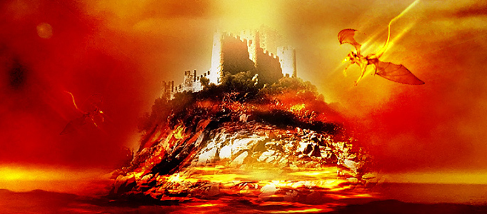 Super Legend Scene – Castle and Flying Dragon in Photoshop