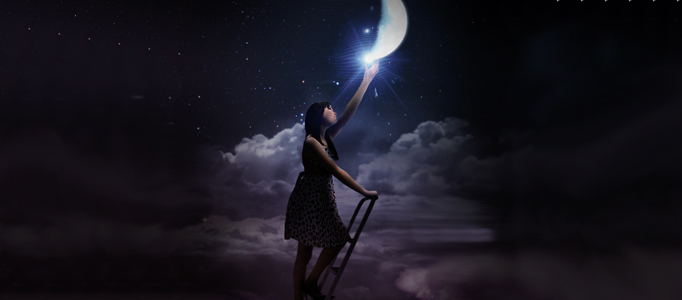 Fantastic Scene – a Girl Reaching to the Moon in Photoshop
