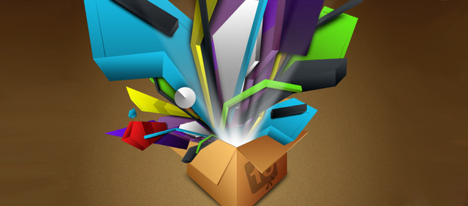 Super 3D Box Gift Creation by Photoshop