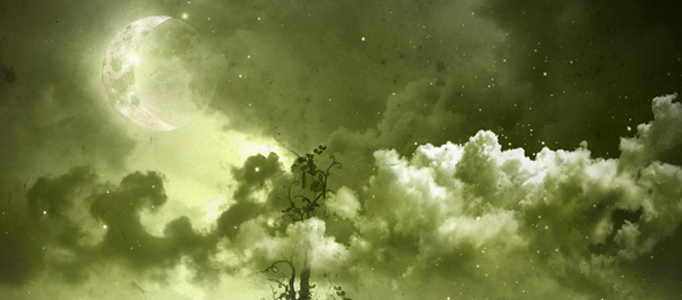 Create a Dramatic Night Scenery in Green