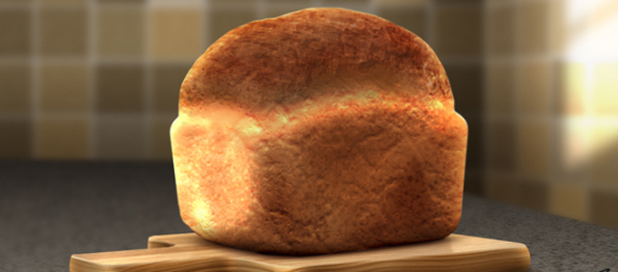 Create a Nice 3D Bread on a Chopping Board