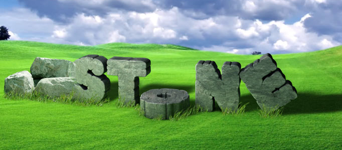 Create a Nice 3D Stone Text Effect on Grass Field