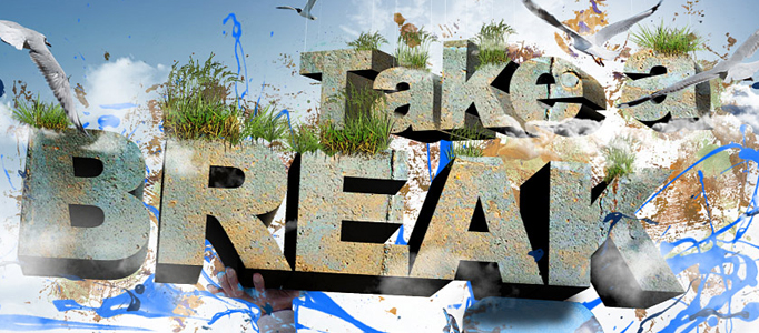 Design a Style 3D Text Effect in the Sky