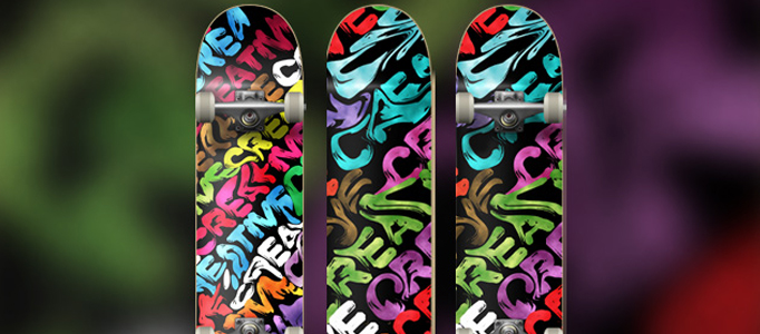 Design a Fantastic Color-Mixed Skateboard