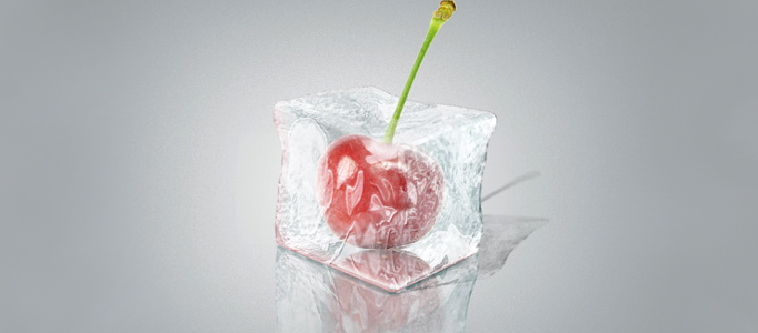 A fruit inside 3D Ice Cube