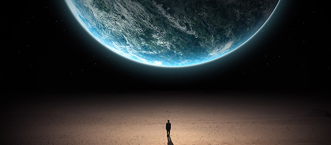 Photo Manipulation – a Man facing a Planet