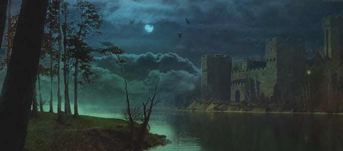 A Wonderful Night Scene for a Castle and River