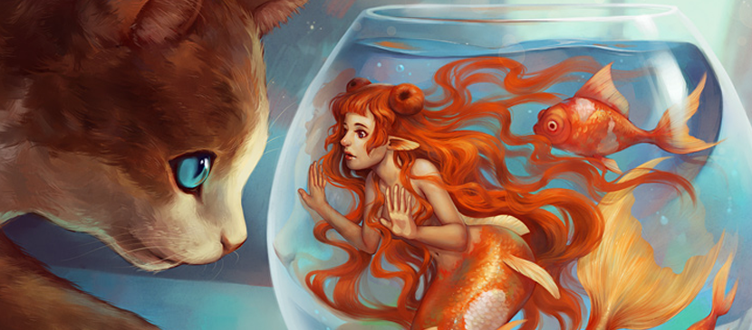 Beautiful Painting for a Cat Watching a Mermaid