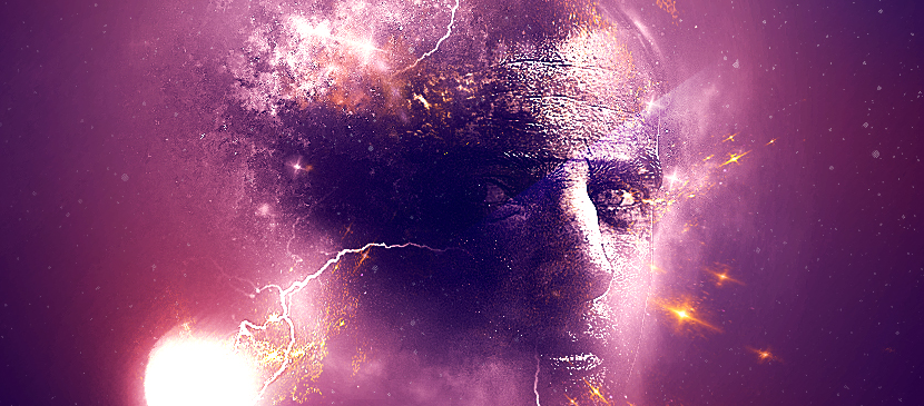 Create a Human Face in Universe Background