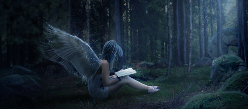 Create an Angel sitting in a Night Forest Scene