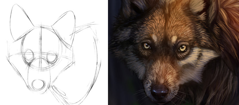 Drawing a Fantastic Wolf in Photoshop