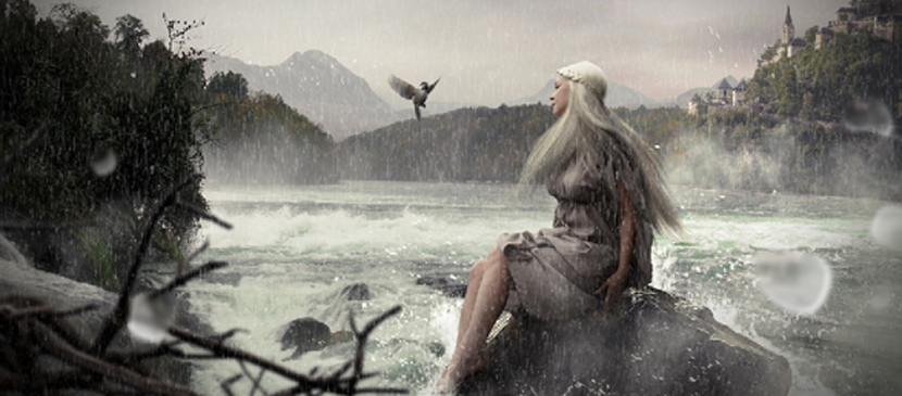 Photo Manipulation – a Beautiful Lady Sitting on the Coast Scene