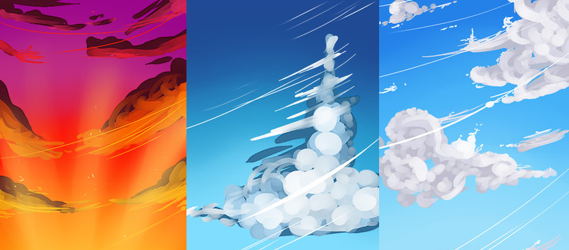 Painting Different Kinds of Clouds for Different Timing
