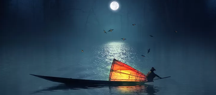 Photo Manipulation for a Fisherman in a Lake