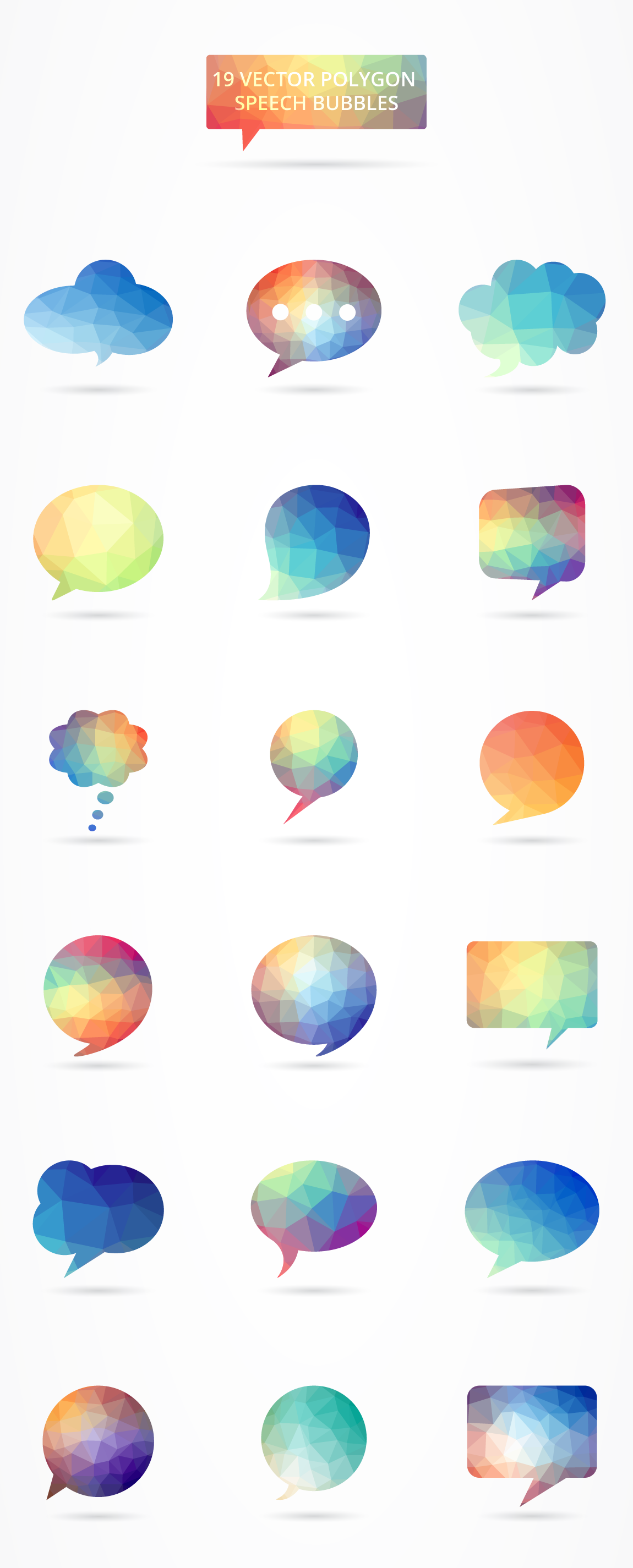 polygonal-speech-bubble-set