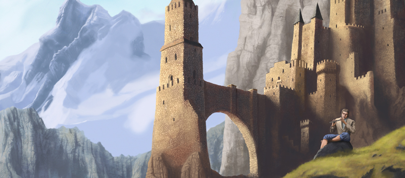 Painting a Castle and Mountain Scene