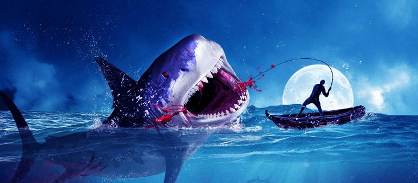 Photo Manipulatiion – Catching a Big Shark Scene