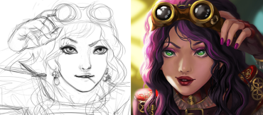 Step by Step to Paint a Cartoon Lady Artwork
