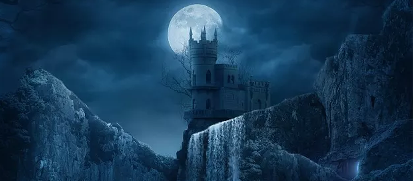 Drawing a Fantastic Castle under the Moon
