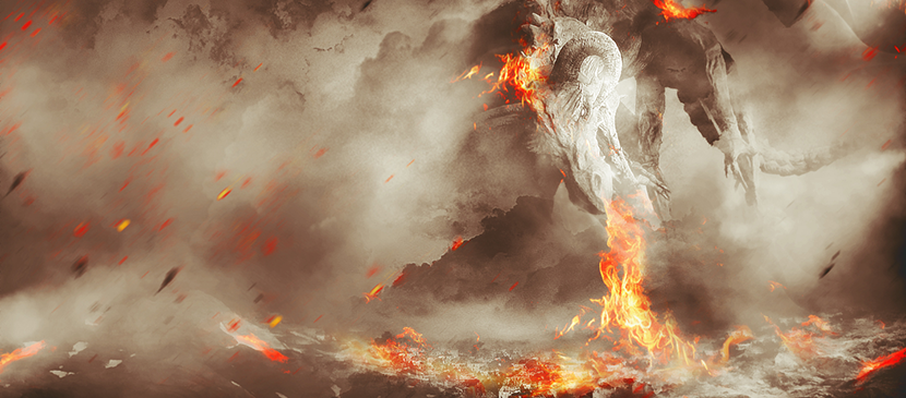 Scene Tutorial in Photoshop: Fiery Dragon Ravaging Mountain Village