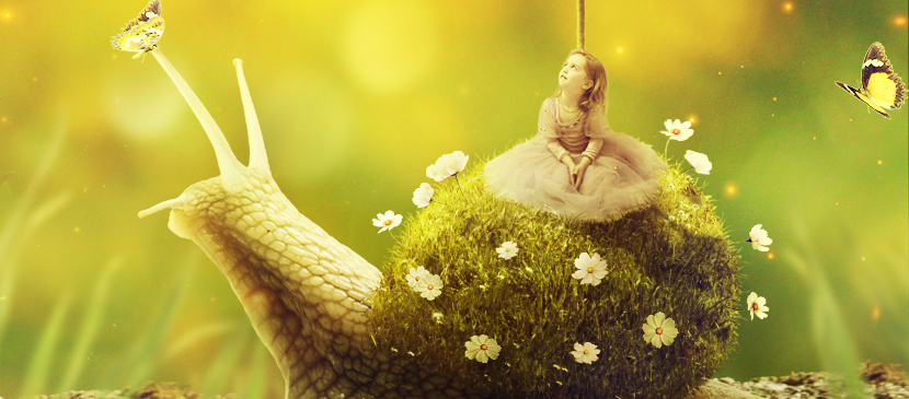 Create a Little Girl Riding a Grassy Shell Snail