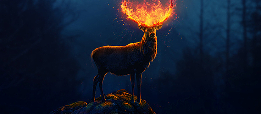 Photoshop Effect of Creating a Flaming Deer