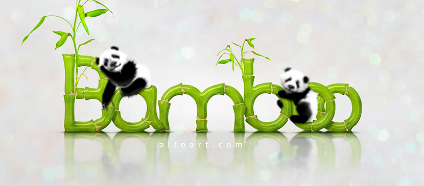 Panda Illustration and Realistic Bamboo Text Effect